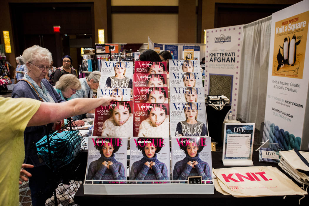 Issues of Vogue Knitting is on display at Vogue Knitting Live held at Red Rock Resort in Las Vegas, Sunday, March 25, 2017. (Elizabeth Brumley/Las Vegas Review-Journal) @EliPagePhoto
