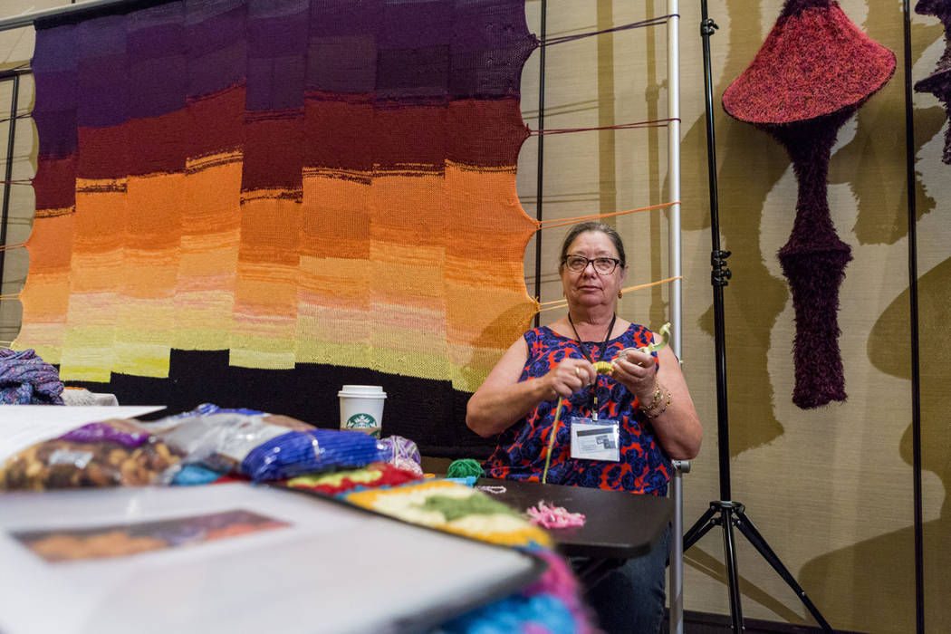 Judy Richards, an artist with Yarn Bombing Los Angeles, knits during Vogue Knitting Live held at the Red Rock Resort in Las Vegas, Sunday, March 25, 2017. (Elizabeth Brumley/Las Vegas Review-Journ ...