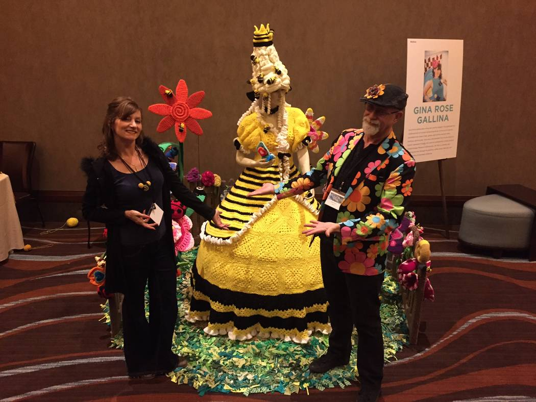 "Gina Rose Gallina and Mark ""Sparky"" Wetzel show off Gallina's crocheted dress, ""Queen Bee,"" during Vogue Knitting Live at Red Rock Resort on Sunday, March 25, 2017. (Blake Apgar/Las Vegas Review-J ..."