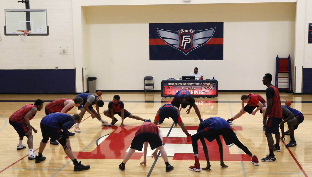 Findlay Prep players prepares for the Dick's National Tournament at the Henderson International School on Friday, March 24, 2017, in Henderson. P.J. Washington is among them, he is a Kentuc ...