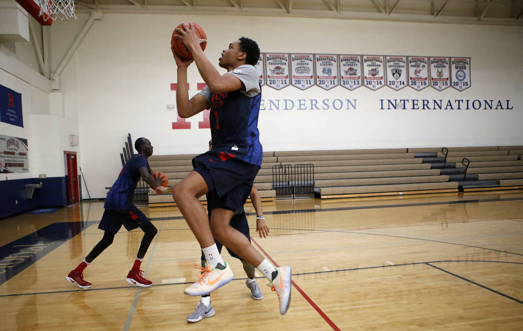Findlay Prep's P.J. Washington shoots during practice at the Henderson International School on Friday, March 24, 2017, in Henderson. Washington is a Kentucky commit and a McDonald's All Ame ...