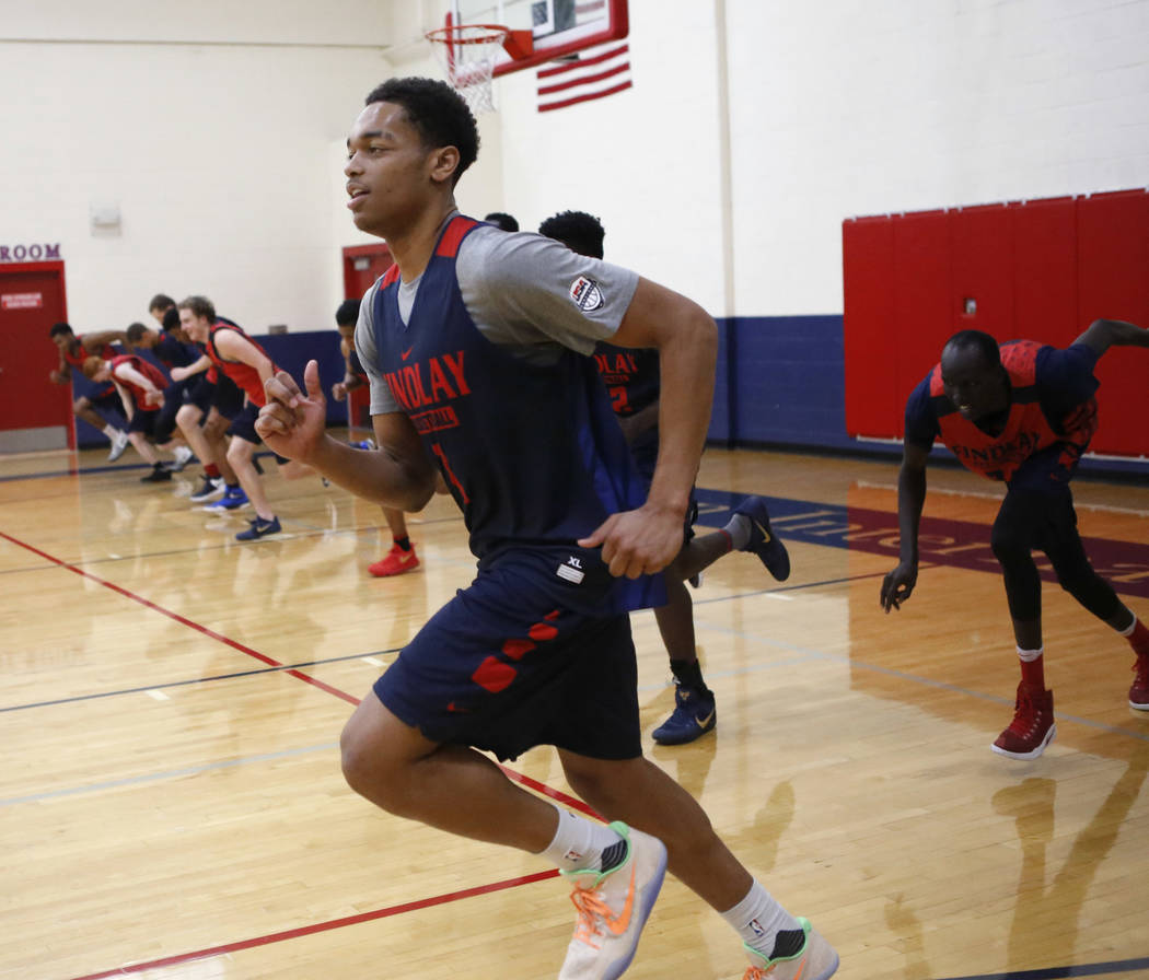 Findlay Prep's P.J. Washington (1) leads a lap as his teammates practice at the Henderson International School on Friday, March 24, 2017, in Henderson. (Christian K. Lee/Las Vegas Review-Jo ...