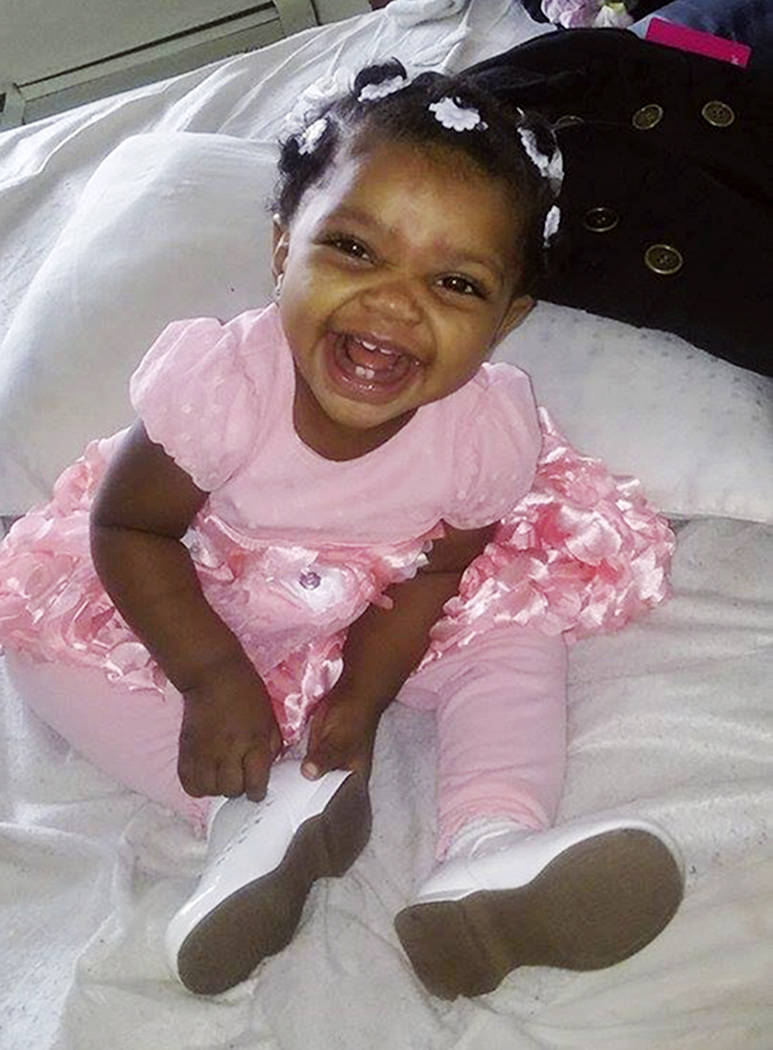 This Jan. 30, 2016, photo provided by Helen Jackson shows Cataleya Tamekia-Damiah Wimberly before her 1st birthday party in Milwaukee. Wimberly died nearly three weeks later from a methadone overd ...
