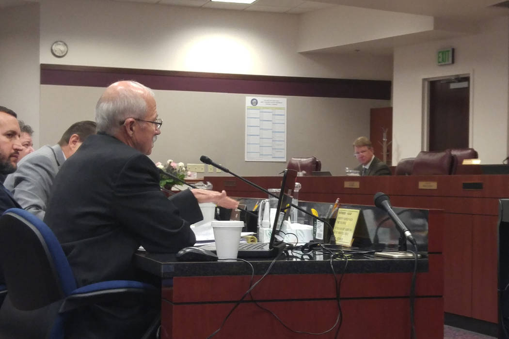Ron Dreher, government affairs director for the Peace Officers Research Association of Nevada, testifies in Carson City on Thursday, March 23, 2017, about Assembly Bill 271 to the Assembly Governm ...