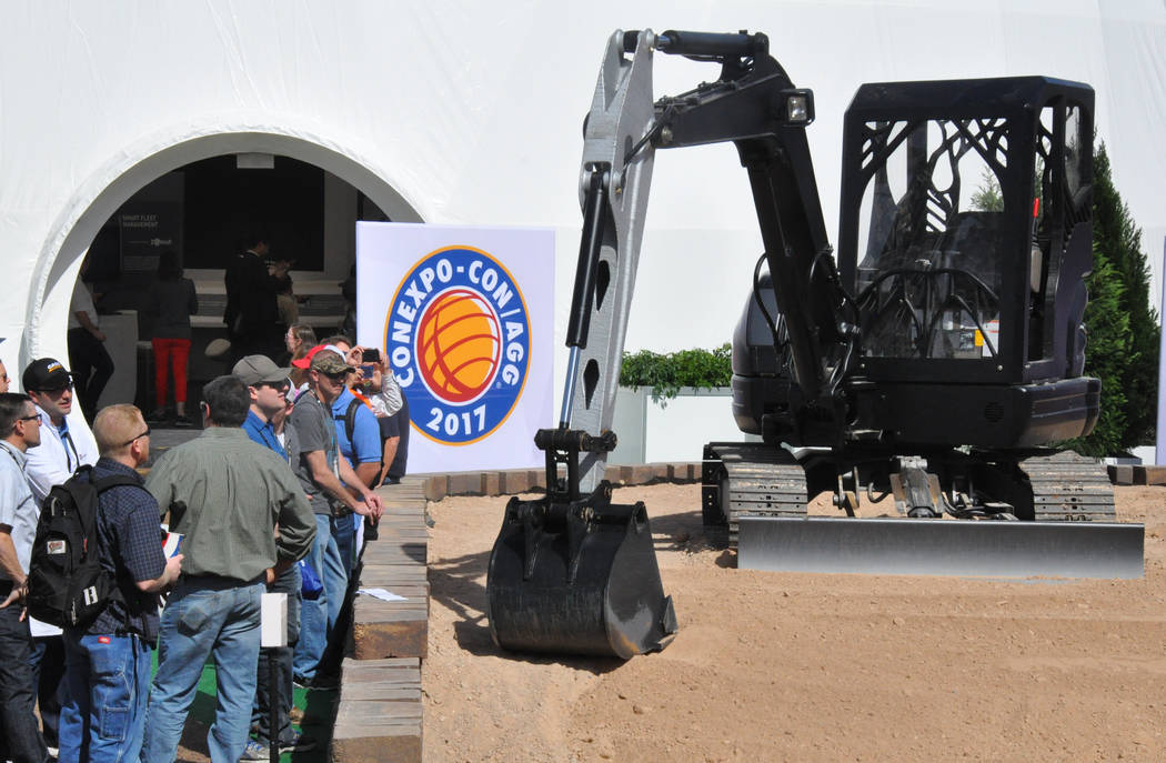 A functioning excavator created by 3D printing with steel was among the innovative products displayed at ConExpo-Con/Agg 2017 in March at the Las Vegas Convention Center. (Buford Davis/Las Vegas B ...