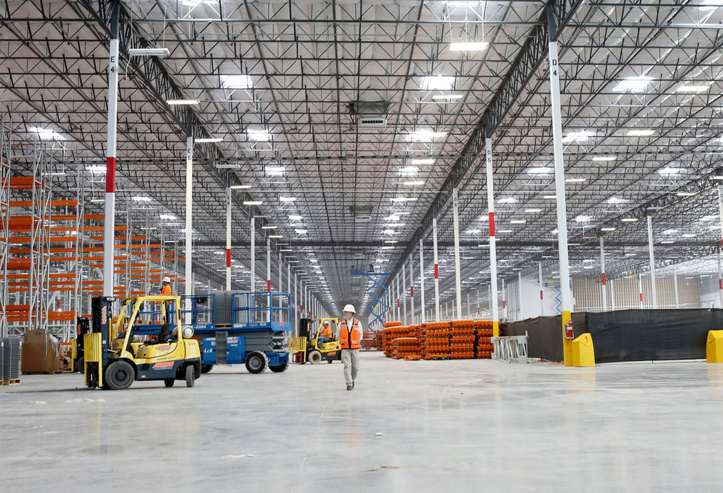 Construction of the newest Amazon warehouse at Apex Industrial Park in North Las Vegas, Monday, March 27, 2017. (Elizabeth Brumley/Las Vegas Review-Journal) @EliPagePhoto