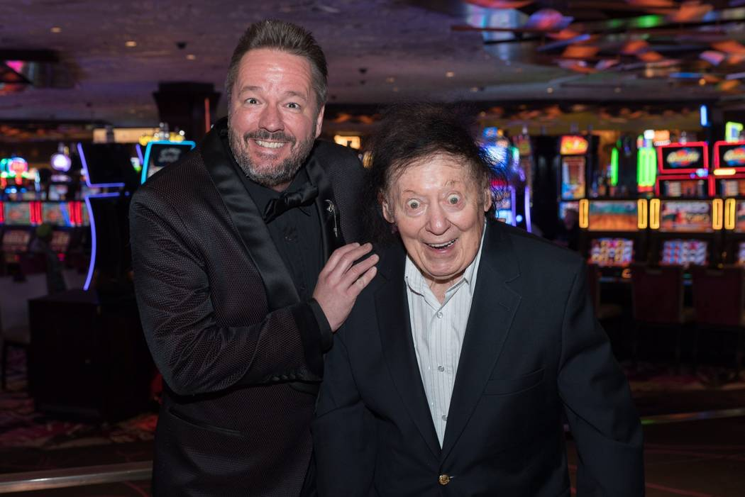 Terry Fator and Marty Allen are shown after Fator's eighth-anniversary show at The Mirage on Monday, March 13, 2017, in Las Vegas. (Barbara Kenig)