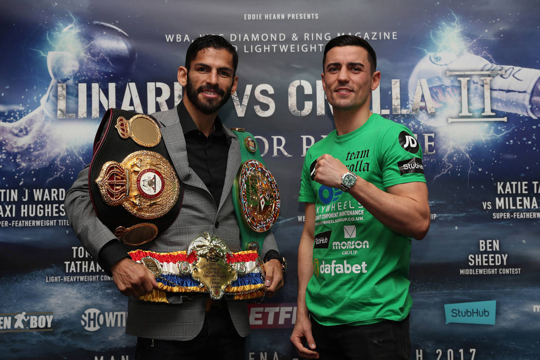 Las Vegas resident Jorge Linares, left, meets Anthony Crolla for a lightweight title rematch on Saturday in the United Kingdom. (Photo Credit Lawrence Lustig/Matchroom)