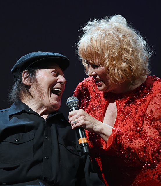 Marty Allen and his wife, Karon Kate Blackwell, perform before a sellout crowd March 26, 2016, in Grand Ballroom of Rampart in Las Vegas. The occasion was to celebrate Allen's 94th birthday. All ...