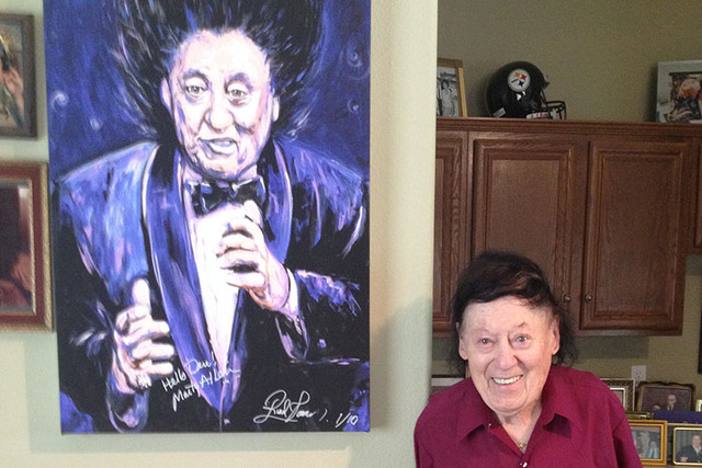 Marty Allen stands in his guest house, which serves as his office and houses much of the memorabilia from his long career, in 2015. (Mike Weatherford/Las Vegas Review-Journal).