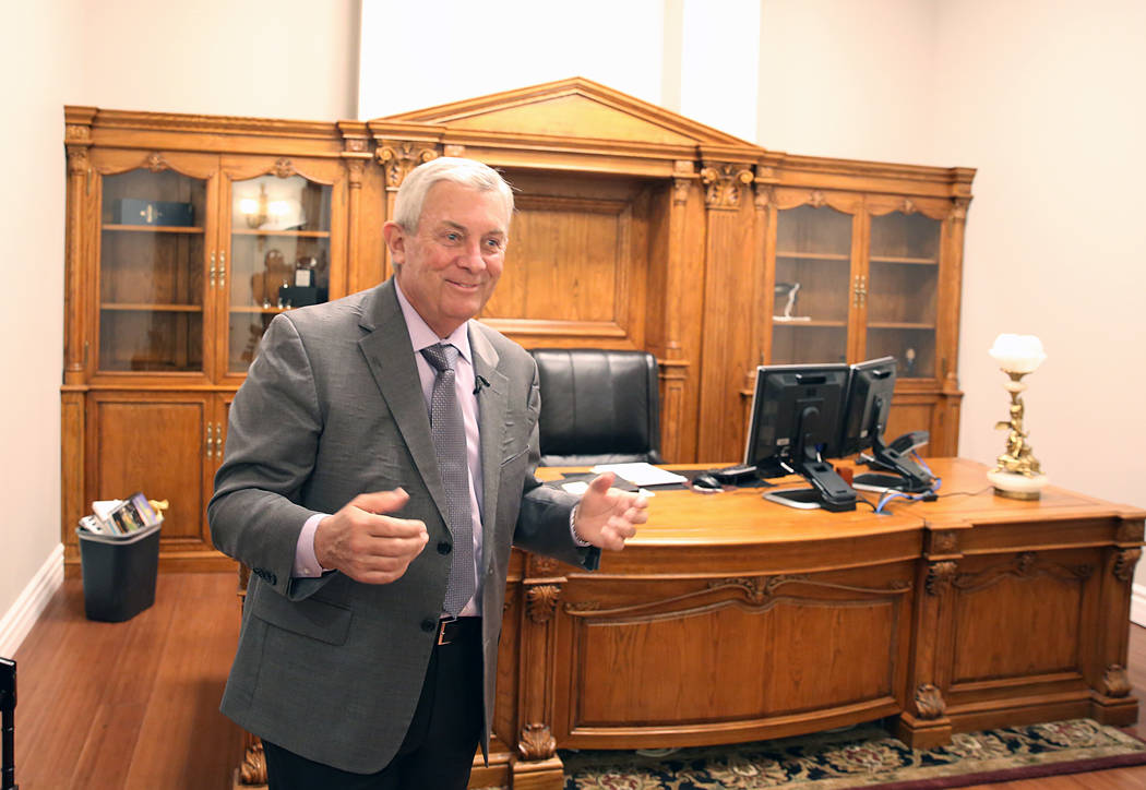 Justice James Hardesty leads a tour of his office at the new Nevada Supreme Court building on Clark and Fourth Street on Friday, March 24, 2017, in Las Vegas. (Bizuayehu Tesfaye/Las Vegas Review-J ...