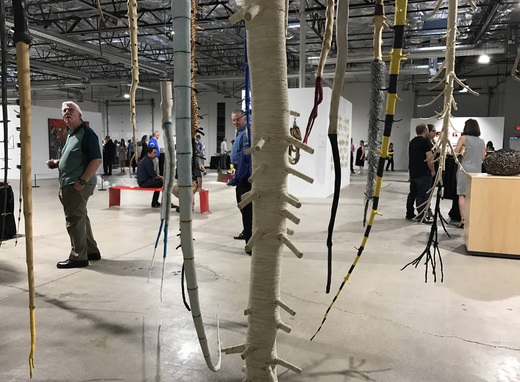 Works (foreground) by artist Galen Brown are featured at Tilting the Basin, a 10-week exhibit presented by the Nevada Museum of Art and Art Museum at Symphony Park. The show opened Mar. 16 at a po ...