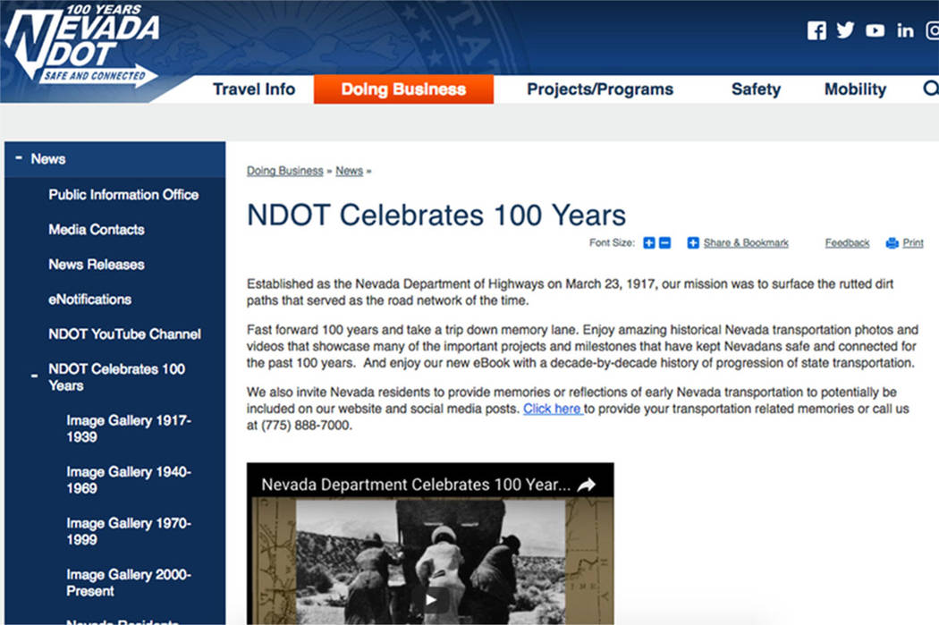 (Nevada Department of Transportation website)