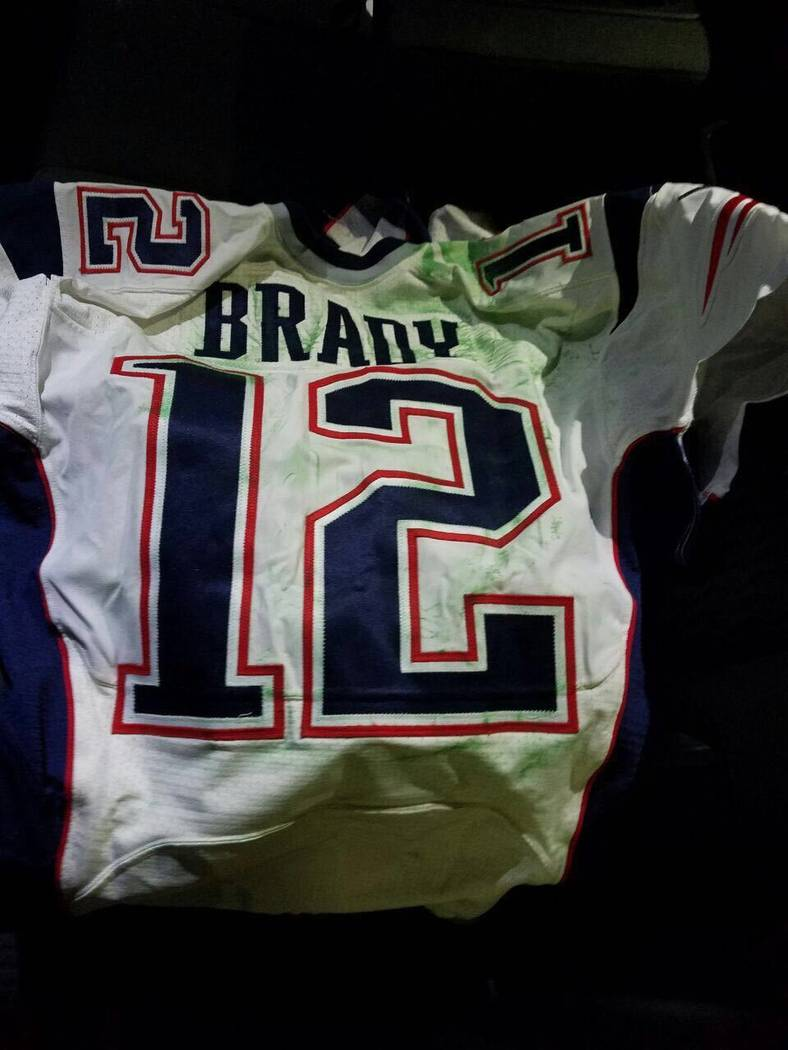 This photo released by MAGO on Tuesday, March 21, 2017 shows Tom Brady's Super Bowl LI jersey after it was recovered by authorities in Mexico City. Brady's jersey went missing from the lock ...