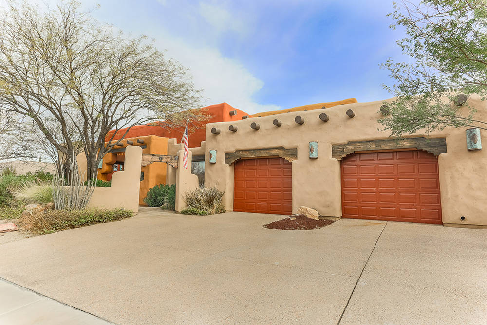 Courtesy of Avi Dan-Goor with Berkshire Hathaway HomeServices Nevada Properties This adobe-style home at 624 E. Fairway Road in Henderson is listed for $575,000.