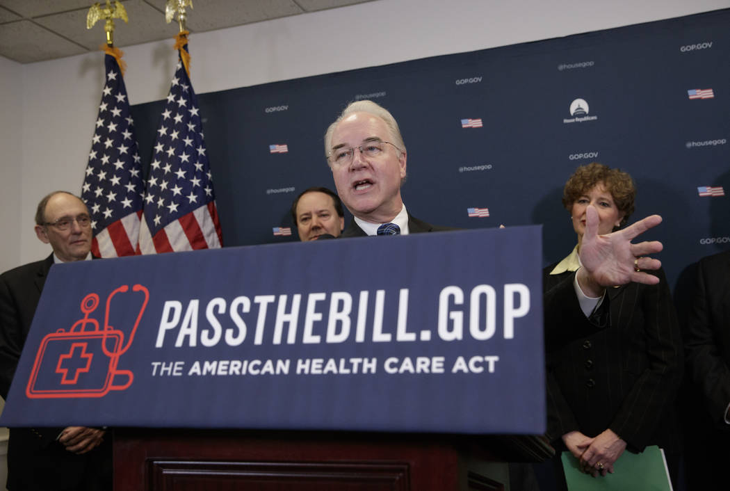 Health and Human Services Secretary Tom Price, center, joined by, from left, Rep. Phil Roe, R-Tenn., Rep. Pat Tiberi, R-Ohio, and Rep. Susan Brooks, R-Ind., speaks during a news conference on Capi ...