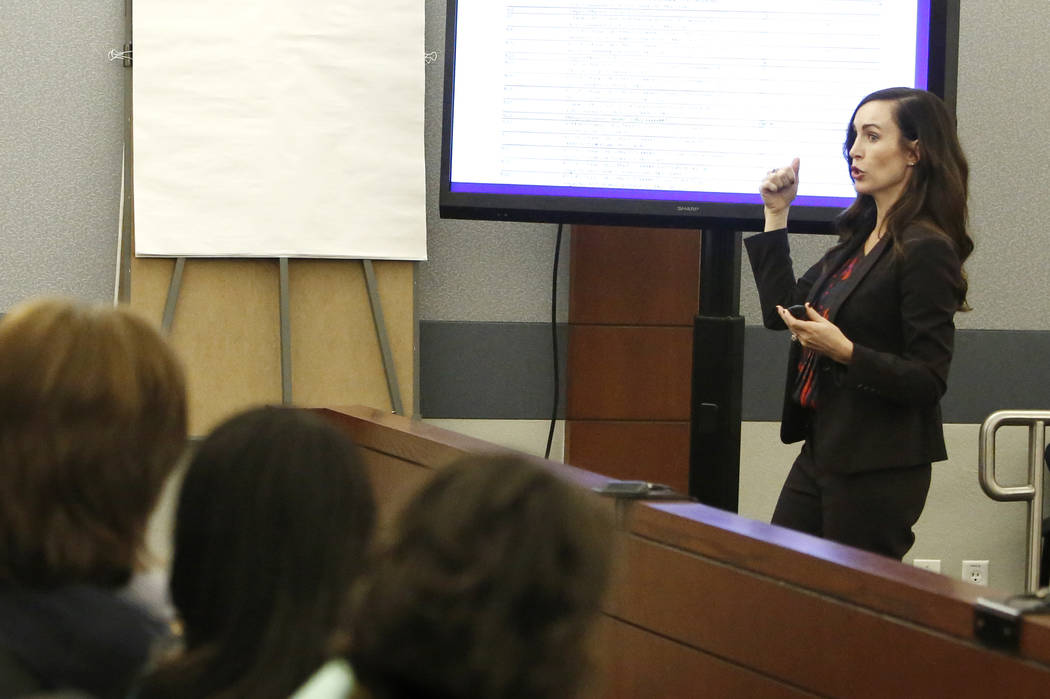 Prosecutor Jacqueline Bluth presents her opening statements to the jury during Melvyn Sprowson' s kidnapping and child pornography trial at the Regional Justice Center on Friday, March 24, 2017, i ...
