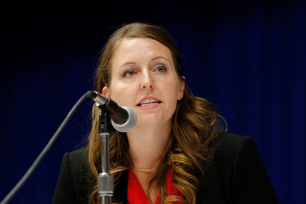 Henderson mayoral candidate Crystal Hendrickson during a debate-forum at the Henderson Convention Center, Monday, March 27, 2017, in Henderson. (Chitose Suzuki/Las Vegas Review-Journal)