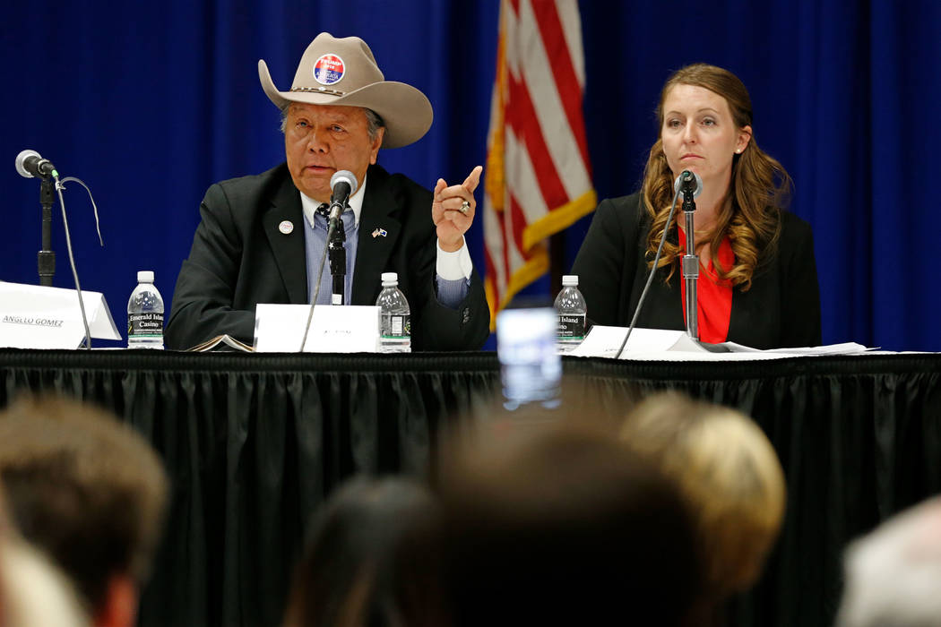Henderson mayoral candidate Eddie Hamilton speaks during a debate-forum at the Henderson Convention Center, Monday, March 27, 2017, in Henderson, as another candidate Crystal Hendrickson looks on. ...
