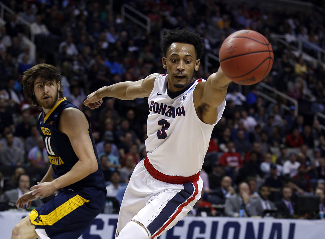Gonzaga forward Johnathan Williams (3) during the second half of an NCAA Tournament college basketball regional semifinal game against West Virginia Thursday, March 23, 2017, in San Jose, Calif. ( ...