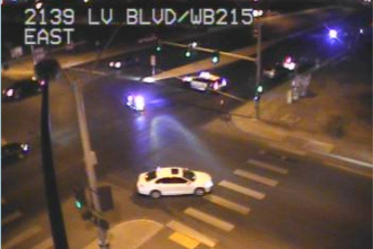 A Metropolitan Police Department officer was hospitalized after a suspected drunken driver rear ended his marked patrol vehicle Thursday night on Las Vegas Boulevard South near the 215 Beltway. (N ...