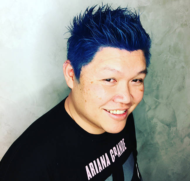 Don Chareunsy with newly bright and vibrant blue hair at Color, a Salon by Michael Boychuck, at Caesars Palace on Saturday, March 18, 2017, in Las Vegas.