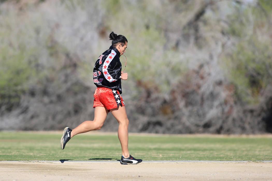 A jogger exercises at Sunset Park in Las Vegas on Friday, March 24, 2017. (Brett Le Blanc/Las Vegas Review-Journal) @bleblancphoto