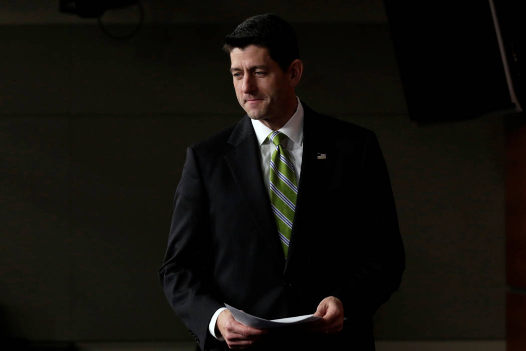 House Speaker Paul Ryan, R-Wisc., arrives at his news conference after the House Republican meeting on Capitol Hill in Washington, March 24, 2017. (Yuri Gripas/Reuters)