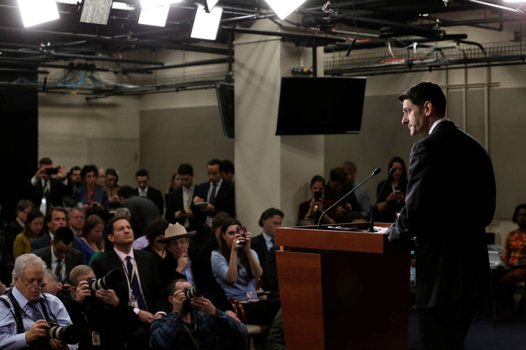 House Speaker Paul Ryan, R-Wisc., speaks at his news conference after the House Republican meeting on Capitol Hill in Washington, March 24, 2017. (Yuri Gripas/Reuters)