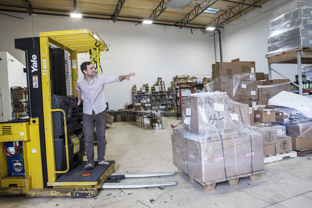 Vegas Food Expo founder Brett Ottolenghi packs up products at Artisanal Foods on Monday, March 27, 2017, in Las Vegas. Vegas Food Expo is a two-day event held at Gold Coast hotel/casino highlighti ...