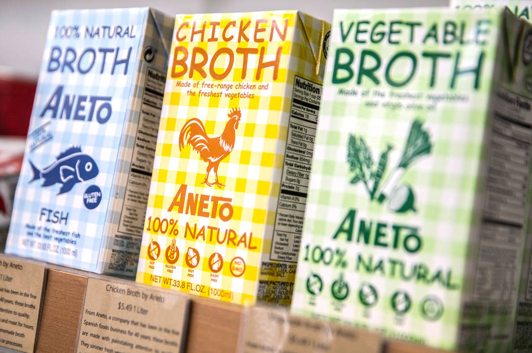 Aneto chicken broth will be available at the Vegas Food Expo at Gold Coast hotel/casino running March 30-31. Photo taken on Monday, March 27, 2017, at at Artisanal Foods, in Las Vegas. (Benjamin H ...