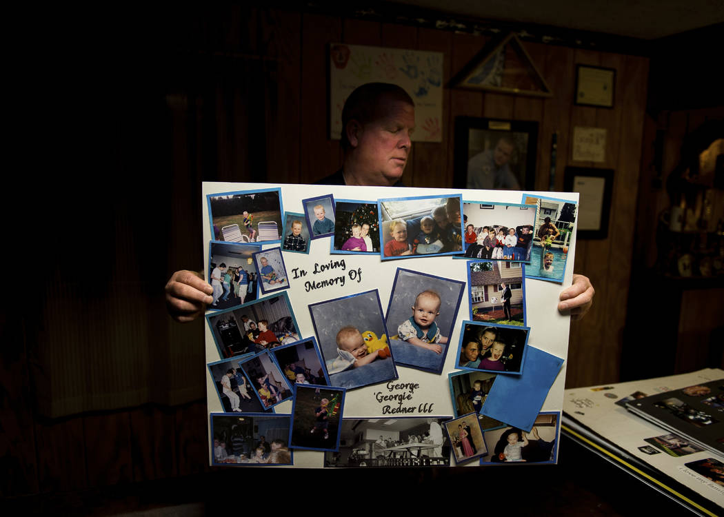 "George Redner Jr. holds a collage made of pictures of his son, George ""Georgie"" Redner III inside of his home in Levittown, Pa., on March 8, 2017. George III committed suicide af ..."