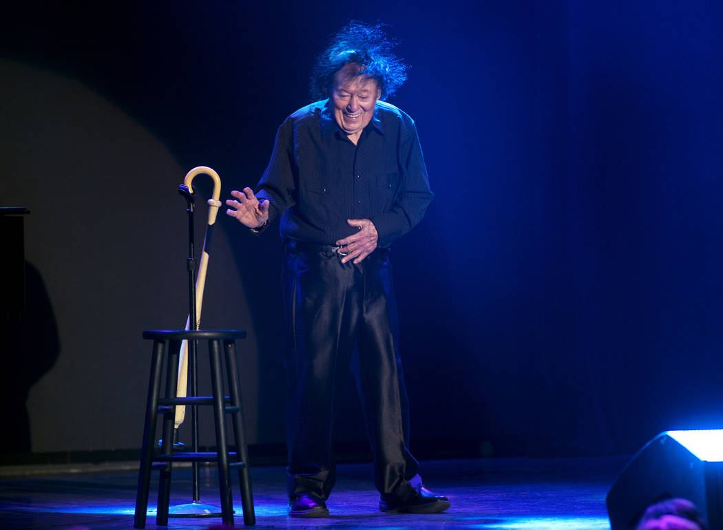 Comedian Marty Allen performs a little dance to celebrate his 95th birthday during a show at the South Point Thursday, March 23, 2017. (Sam Morris/Las Vegas News Bureau)