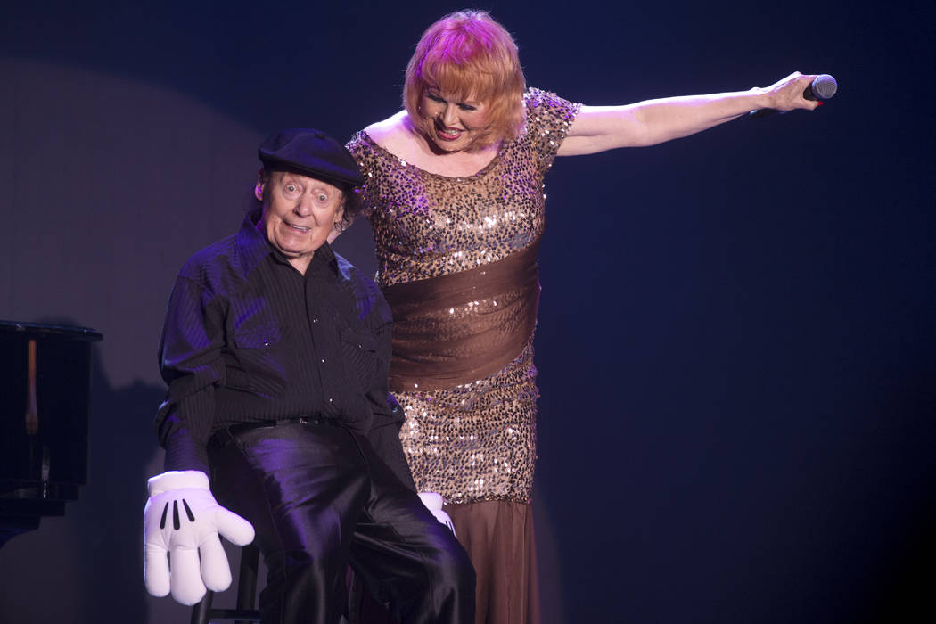Comedian Marty Allen and his wife Karon Kate Blackwell celebrate his 95th birthday with a show at the South Point Thursday, March 23, 2017. (Sam Morris/Las Vegas News Bureau)