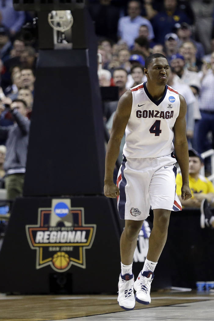 Gonzaga guard Jordan Mathews (4) celebrates after scoring during the second half of an NCAA Tournament college basketball regional semifinal game against West Virginia Thursday, March 23, 2017, in ...