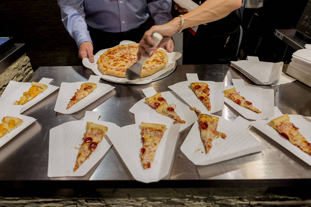 Roma Pizza is served during the International Pizza Expo at the Las Vegas Convention Center in Las Vegas, Tuesday, March 28, 2017. (Elizabeth Brumley/Las Vegas Review-Journal) @EliPagePhoto