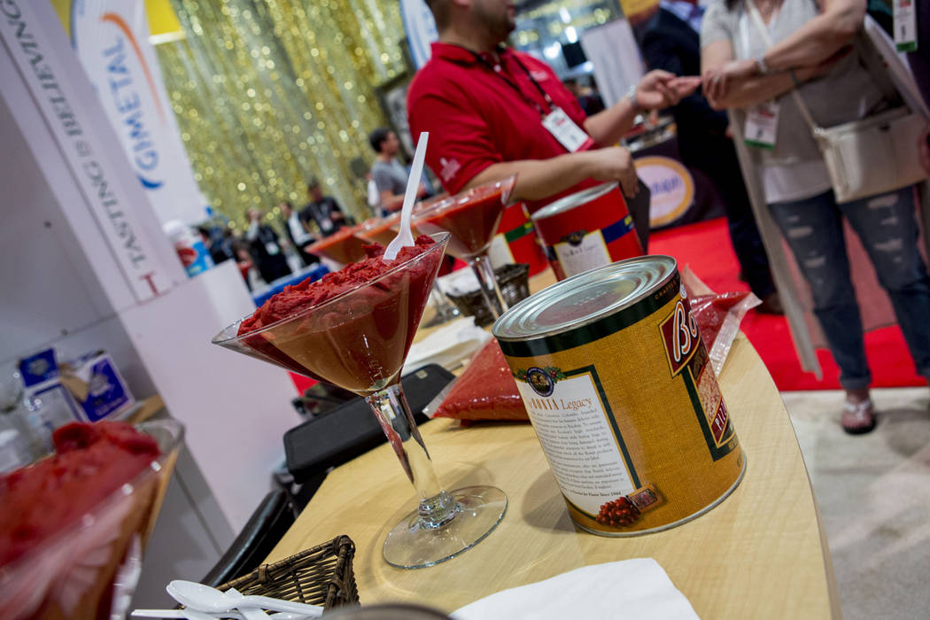 Escalon sauce at the International Pizza Expo at the Las Vegas Convention Center in Las Vegas, Tuesday, March 28, 2017. (Elizabeth Brumley/Las Vegas Review-Journal) @EliPagePhoto
