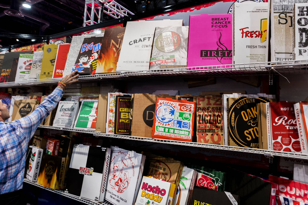 W Packaging displays different boxes during International Pizza Expo at the Las Vegas Convention Center in Las Vegas, Tuesday, March 28, 2017. (Elizabeth Brumley/Las Vegas Review-Journal) @EliPage ...