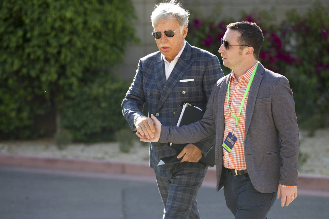 Los Angeles Rams owner Stan Kroenke, left, during day two of the NFL Annual Meeting at the Arizona Biltmore Hotel on Monday, March 27, 2017, in Phoenix, Ariz.. (Erik Verduzco/Las Vegas Review-Jour ...