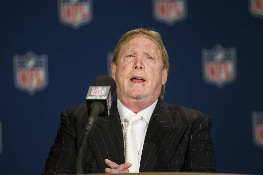 Oakland Raider Mark Davis speaks after the team was voted to move to Las Vegas during day two of the NFL Annual Meeting on Monday, March 27, 2017, in Phoenix, Ariz.. (Erik Verduzco/Las Vegas Revie ...