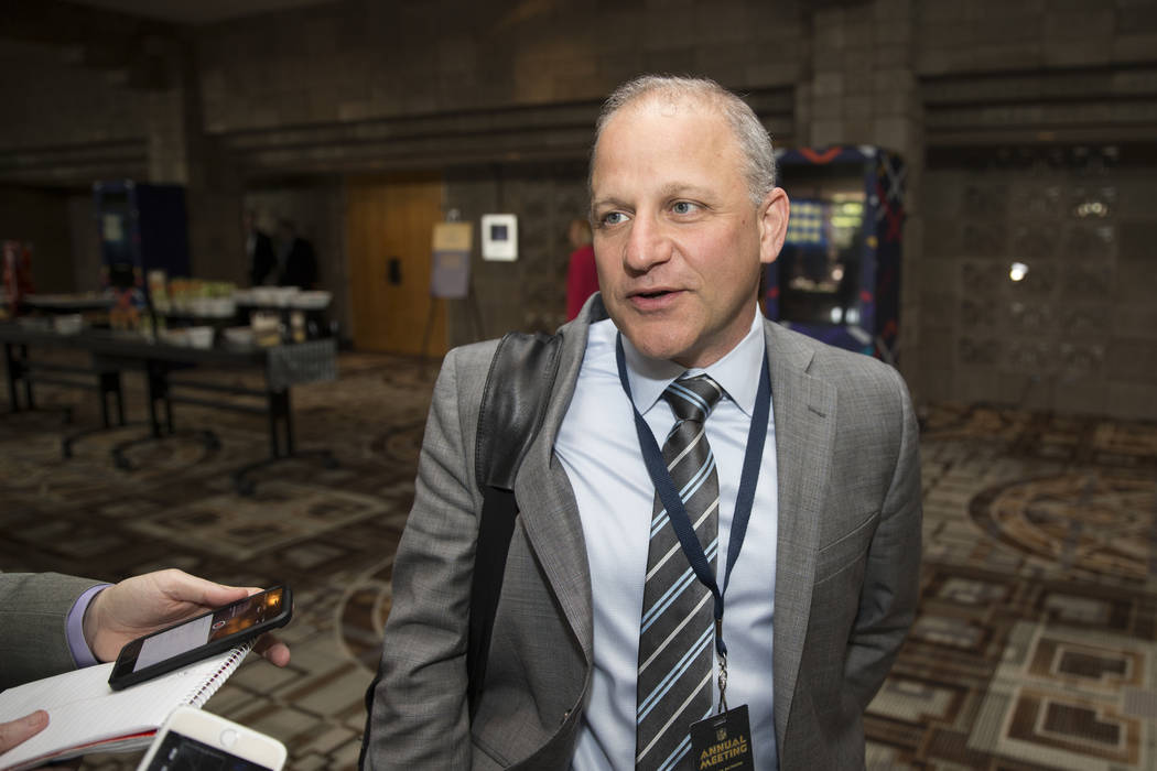 Oakland Raiders president Marc Badain during day two of the NFL Annual Meeting at the Arizona Biltmore Hotel on Monday, March 27, 2017, in Phoenix, Ariz. (Erik Verduzco/Las Vegas Review-Journal) @ ...