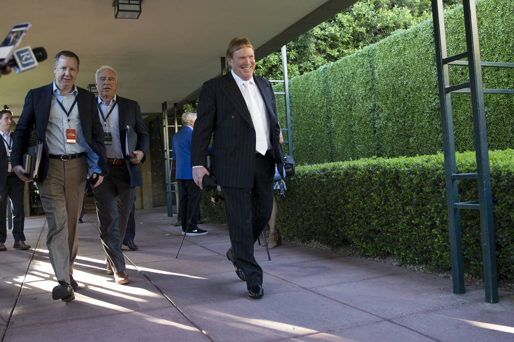Oakland Raiders owner Mark Davis, right, during day two of the NFL Annual Meeting at the Arizona Biltmore Hotel on Monday, March 27, 2017, in Phoenix, Ariz. (Erik Verduzco/Las Vegas Review-Journal ...