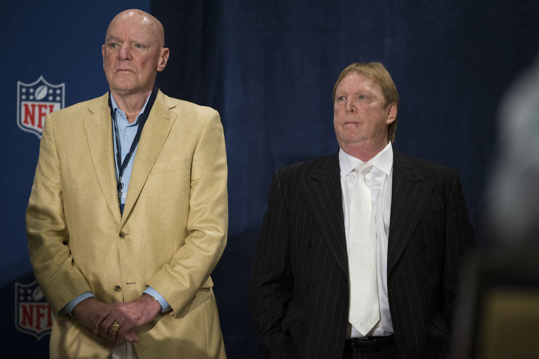 Houston Texans owner Bob McNair, left, with Oakland Raiders owner Mark Davis during a press conference after the NFL approved the Raiders move to Las Vegas with a 31-1 vote in day two of the NFL A ...
