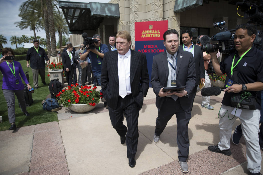 Oakland Raiders owner Mark Davis after the NFL approved the Raiders move to Las Vegas with a 31-1 vote during day two of the NFL Annual Meeting on Monday, March 27, 2017, in Phoenix, Ariz.. (Erik  ...
