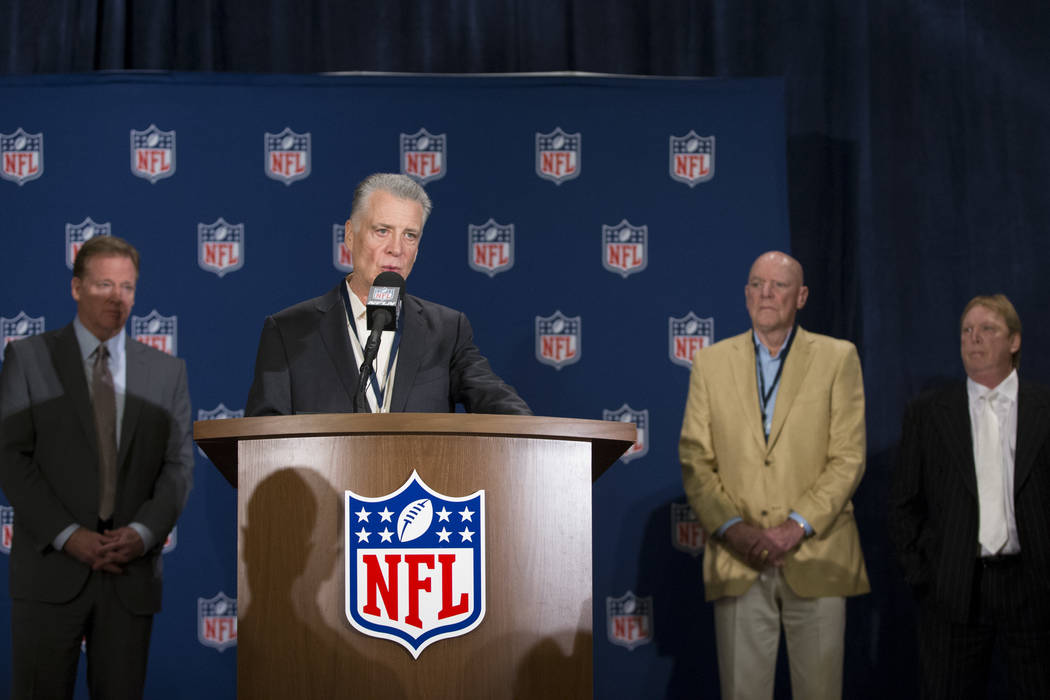 Pittsburgh Steelers owner Arthur Rooney II, second from left, speaks during a press conference on the Oakland Raiders NFL approval vote to move to Las Vegas during the NFL Annual Meeting, with NFL ...