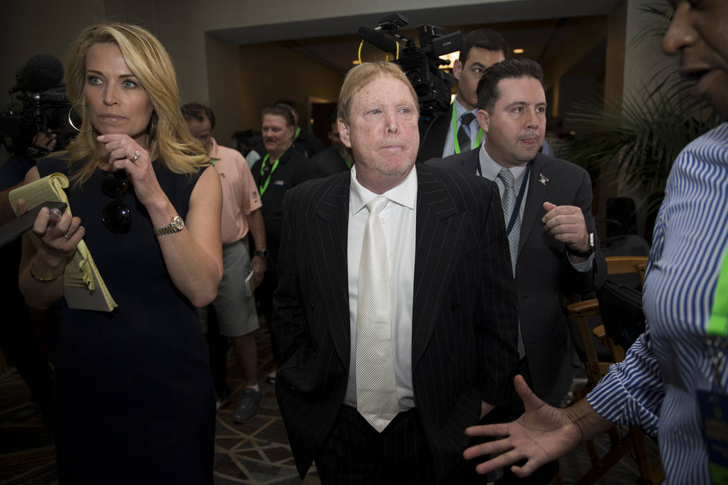 Oakland Raiders owner Mark Davis after the team was voted to move to Las Vegas during day two of the NFL Annual Meeting on Monday, March 27, 2017, in Phoenix, Ariz.. (Erik Verduzco/Las Vegas Revie ...
