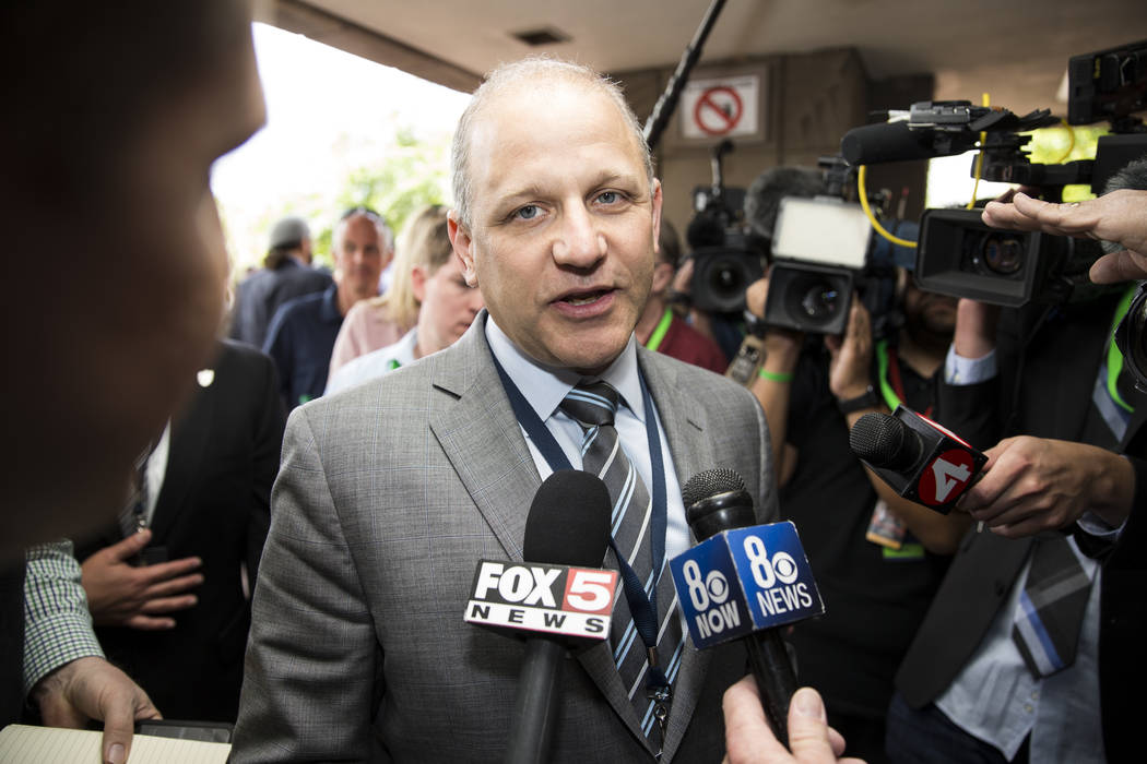 Oakland Raiders president Marc Badain speaks to the media after the NFL approved the Raiders move to Las Vegas with a 31-1 vote during day two of the NFL Annual Meeting on Monday, March 27, 2017,  ...