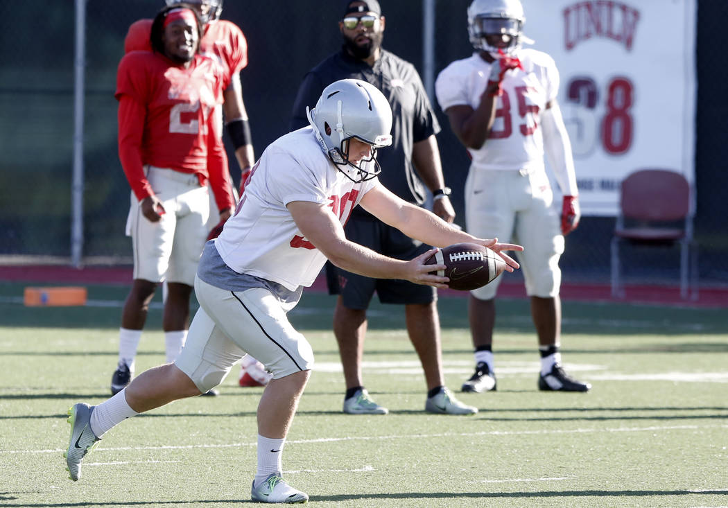 UNLV Rebels' kicker Evan Pantels during a team practice on Monday, 27, 2017, in Las Vegas. (Bizuayehu Tesfaye/Las Vegas Review-Journal) @bizutesfaye