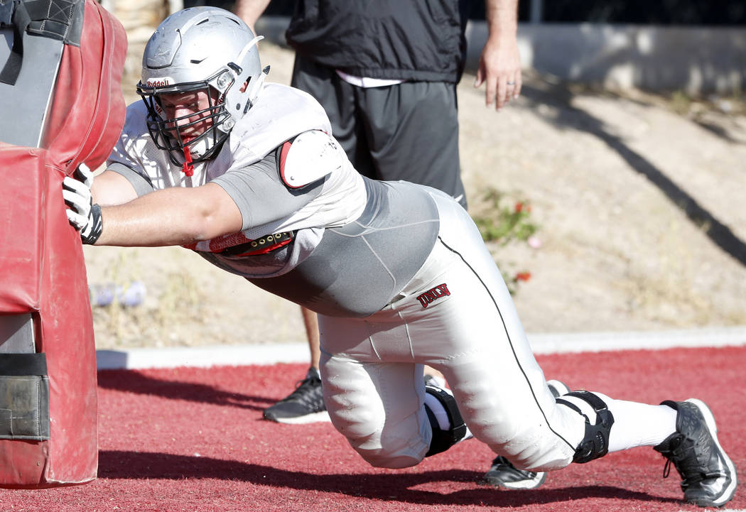 UNLV Rebels' offensive line Kyle Saxelid during a team practice on Monday, 27, 2017, in Las Vegas. (Bizuayehu Tesfaye/Las Vegas Review-Journal) @bizutesfaye