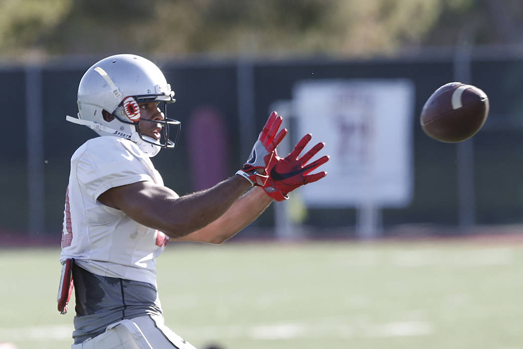 UNLV Rebels' wide receiver Brandon Presley prepares to catch the ball during a team practice on Monday, 27, 2017, in Las Vegas. (Bizuayehu Tesfaye/Las Vegas Review-Journal) @bizutesfaye